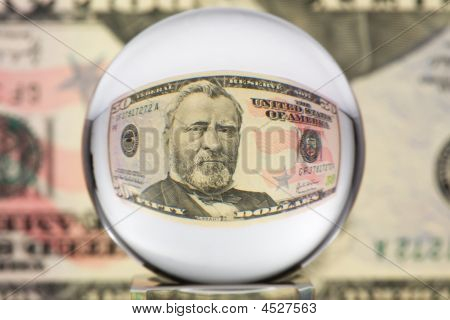 Glass Sphere and Dollar with portrait