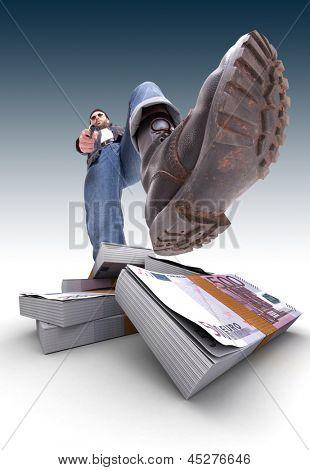 Aggressive man with gun and a pile of cash, Euros