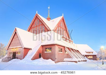 Architecture of Kiruna cathedral at Lapland Sweden