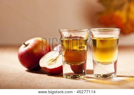 German apple schnapps in shot glasses