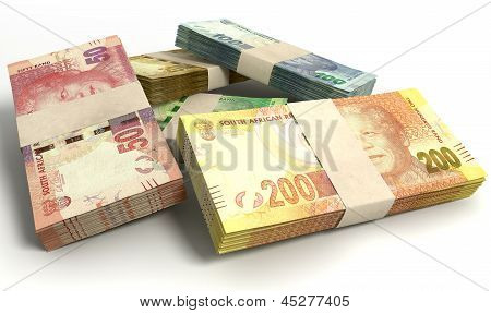 South African Rand Notes Bundles Stack