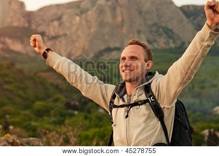 Feeling Freedom Man On The Mountain Landscape