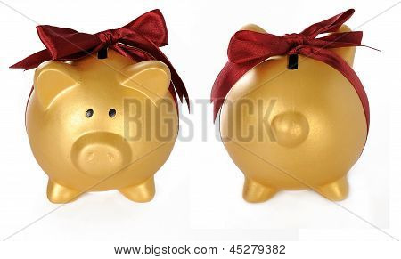 Set Of Gold Piggy Bank With Red Ribbon