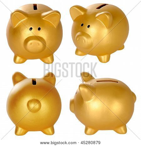 Set Of Golden Piggy Bank
