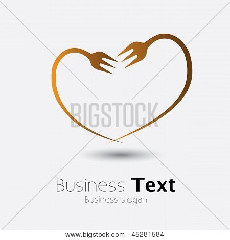 Fork Icon Forming Shape Of Heart Showing Love Of Food- Vector