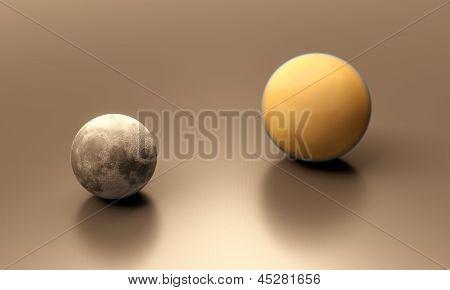 Saturn Moon Titan And Earth Moon Blank