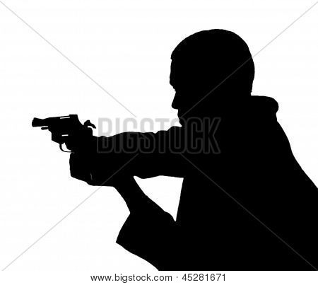 Professional man with gun
