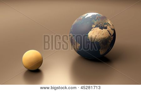 Saturn Moon Titan And Planet Earth
