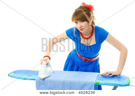 Stylish Housewife Ironing The Clothes