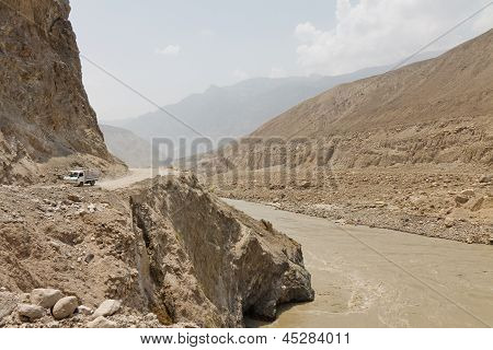 Karakorum Highway Along The Indus River