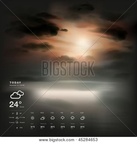 Weather widget template and sunset the sea background