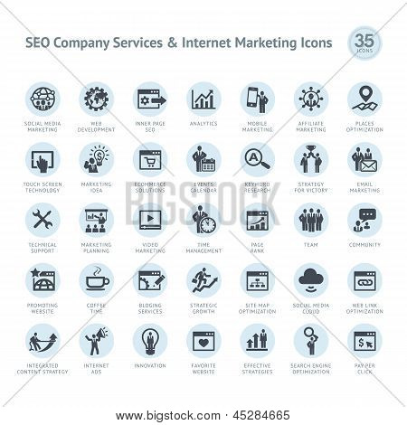 SEO company services and Internet marketing icons