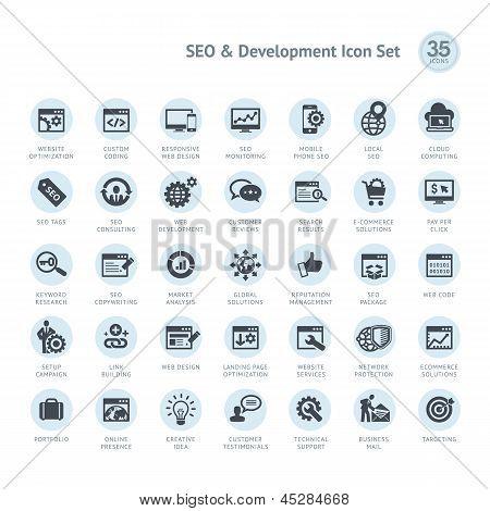 SEO y desarrollo conjunto de iconos
