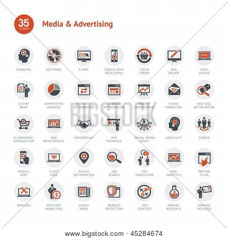 Media en reclame pictogrammen