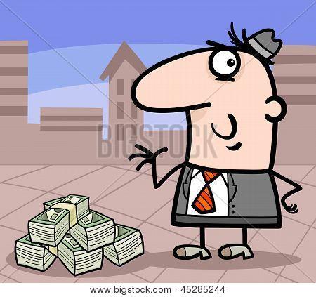 Businessman With Money Cartoon Illustration