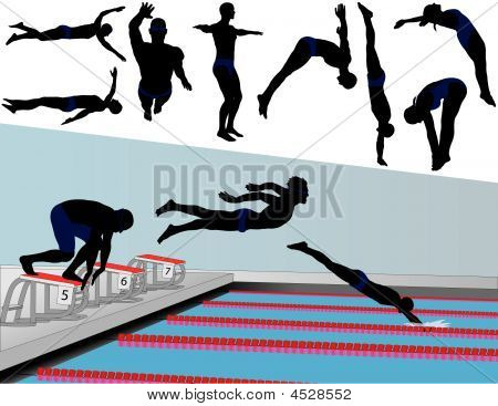 Swimmers And Divers Vector Silhouettes