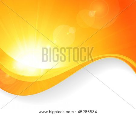 Summer background with a magnificent vector sun burst with lens flare and wavy lines pattern in bright orange and yellow colors. Vector available.