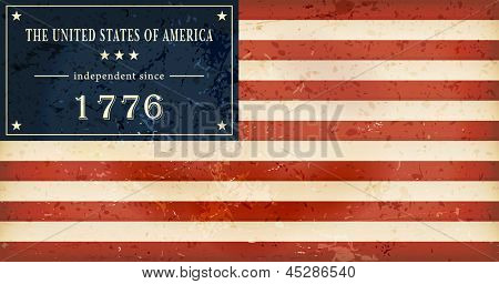 Independence Day background where in the flag of the USA the star field is replaced by the wording: The United States of America independent since 1776. Vector available.