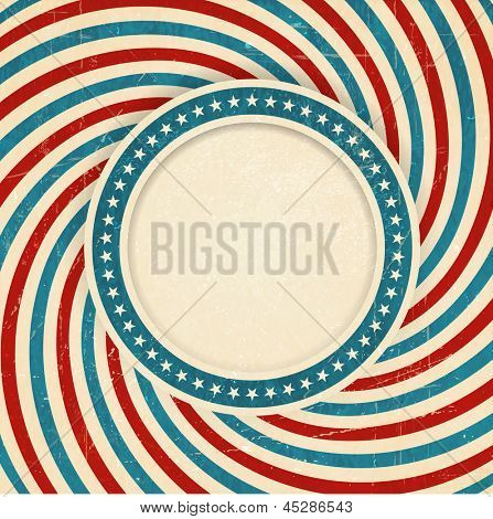 Vintage style aged USA themed grunge design with spiraling blue, red and off white rays and center label with a ring of white stars on blue background and space for your text. Vector available.
