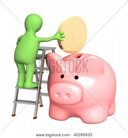 Puppet with piggy bank and coin. Isolated over white