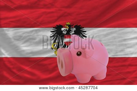 Piggy Rich Bank And  National Flag Of Austria