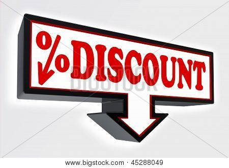 Discount Sign With Arrow Down And Per Cent Symbol
