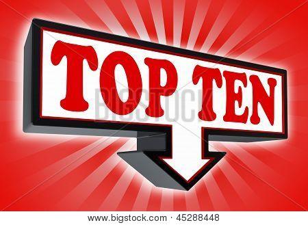 Top Ten Sign With Arrow