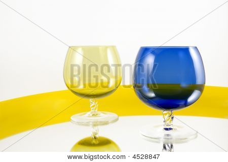 Wine Blue Yellow Glass