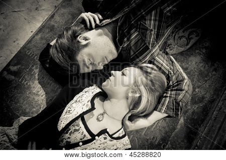 edgy portrait of couple in love, monochrome