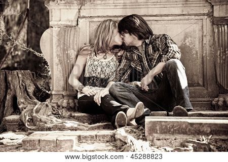 sexy couple kissing, grungy shot