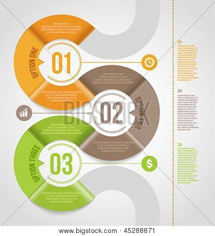Abstract infographics template  design with numbered paper elements - vector illustration