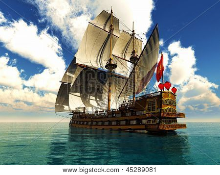 Pirate brigantine out on sea