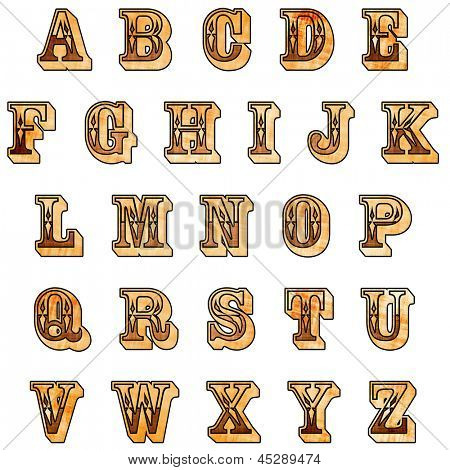 Rustic Western Alphabet with clipping path