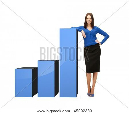 beautiful businesswoman leaning on big 3d chart