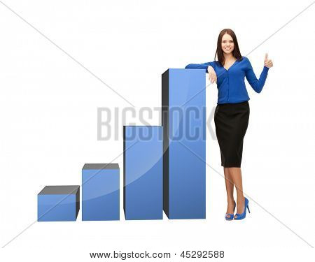 beautiful businesswoman with big 3d chart showing thumbs up