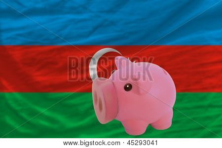 Piggy Rich Bank And  National Flag Of Azerbaijan