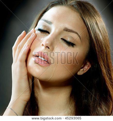 Crying Woman. Beauty Girl Crying. Tears. Cry