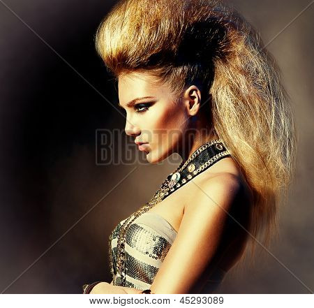 Fashion Rocker Style Model Girl Portrait. Hairstyle. Rocker or Punk Woman Makeup, Hairdo and Accessories