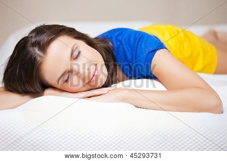bright picture of beautiful sleeping woman