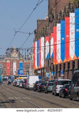Buildings In The City Of Amsterdam Have Been Decorated During The Inauguration Of King Willem-alexan