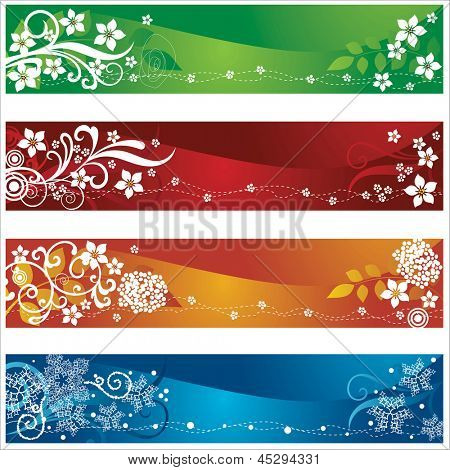 Four seasonal banners or bookmarks with flowers and snowflakes design. This image is a vector illustration.