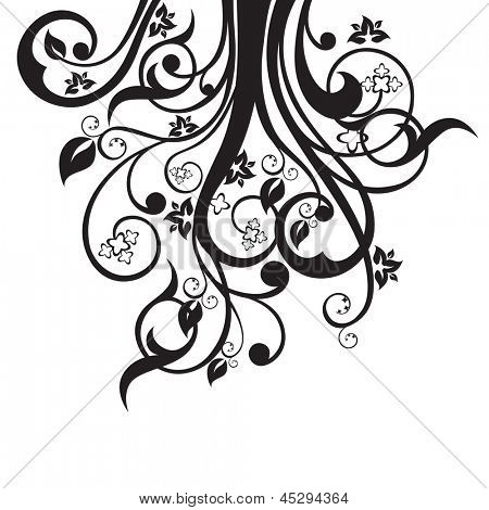 Flowers, leaves and swirls silhouette in black isolated on white background. This image is a vector illustration.