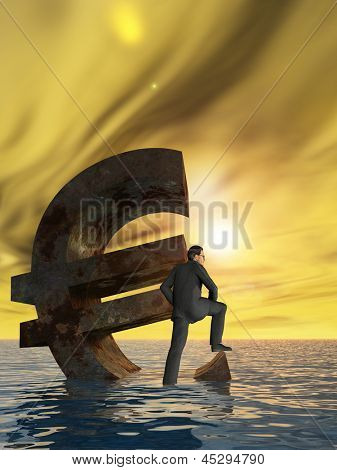 High resolution conceptual currency euro symbol and 3D businessman sinking in ocean as a concept for European crisis vertical background