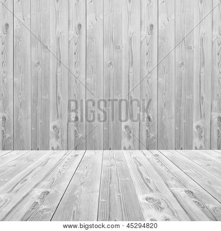 Old vintage or grungy white and gray wood wall and floor background