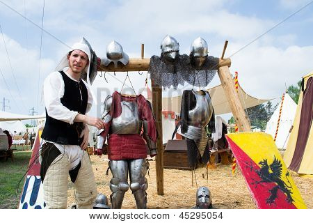 Knight Shows The Parts Of Medieval Armor