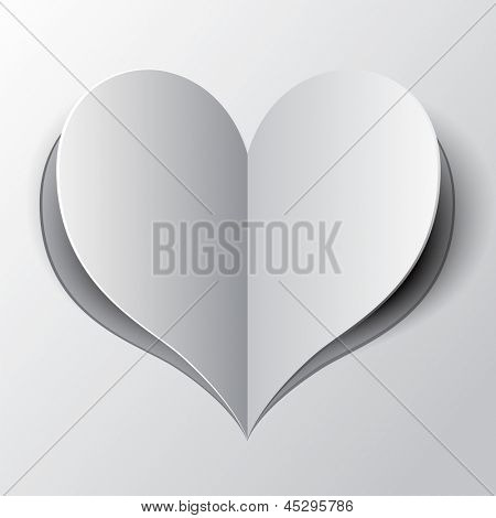 Valentine's day card.Heart from paper. Rasterized illustration. Vector version in my portfolio