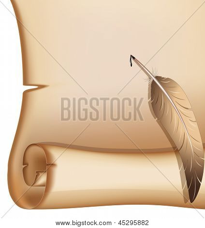 Old scroll with a feather. Rasterized illustration. Vector version in my portfolio