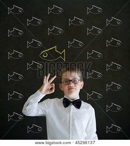 All Ok Boy Dressed As Business Man With Independent Thinking Chalk Fish