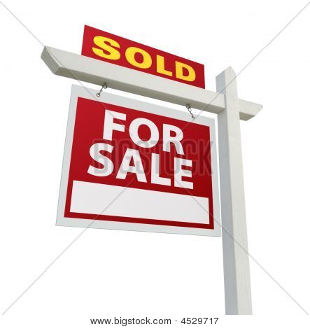 Sold Home For Sale Sign On White