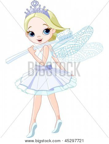Cute smiling tooth fairy with toothbrush.